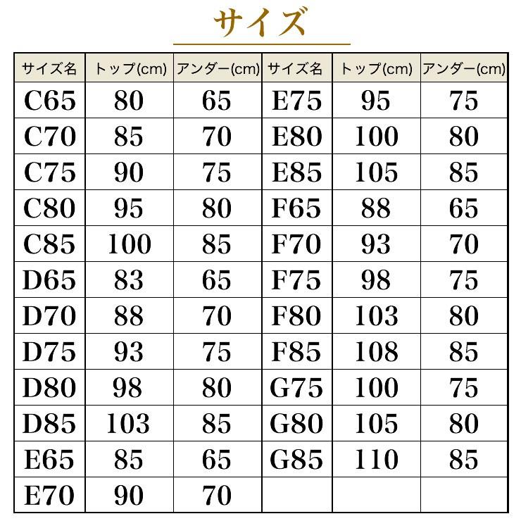 プレミアムリフトアップ セミロングブラジャーのサイズ表